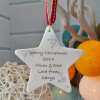 Personalised Star With Snowflakes