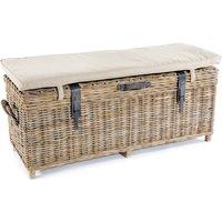 Washed Rattan Storage Bench