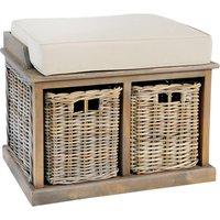 Washed Rattan Twin Storage Basket Bench