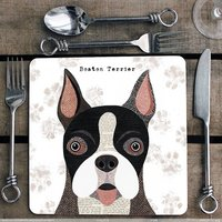 Boston Terrier Personalised Dog Placemat/Coaster