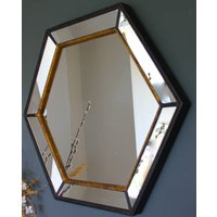 Gold Edged Hexagonal Vintage Wall Mirror