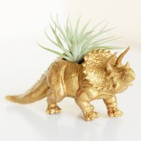 Hand Painted Triceratops Dinosaur Planter With Plant, Red/Orange/Dark Blue