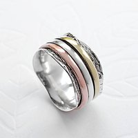 Sterling Silver Mixed Metal Spinning Waves Ring, Silver