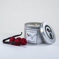 Raspberry And Vanilla Scented Soy Wax Candle Tin