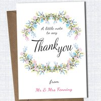Personalised Floral Thank You Card, White/Brown