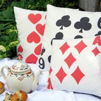 Playing Card Cushion Cover, Black/Red