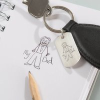 I've Drawn My Dad Silver Personalised Leather Keyring