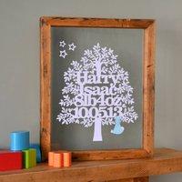 Baby Boy Papercut Tree, White/Cream/Blue