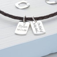 Personalised Silver And Leather Double Tag Necklace, Silver