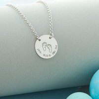 New Baby Celebration Personalised Silver Necklace, Silver