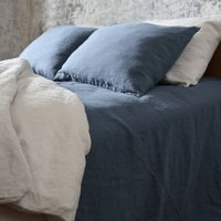 Blue Tones Stone Washed Bed Linen Flat Sheet, Blue