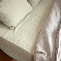 Stone Washed Pure Linen Fitted Sheet
