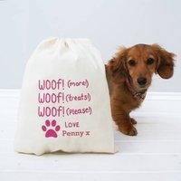 Personalised Woof Woof Treat Bag, Red/Apple Green/Green