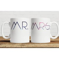 Galaxy 'Mr And Mrs' Personalised Mug, Blue/Pink