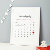 Personalised Special Date Calendar Print, Pink/Magenta/Red