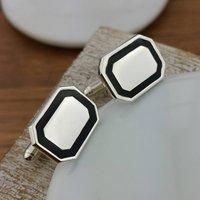 Silver And Black Enamel Cufflinks, Silver