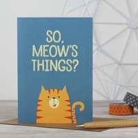 Funny Cat 'So, Meow's Things?' Cat Greeting Card