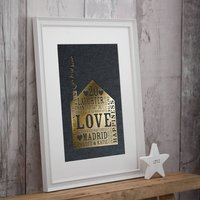 Metallic Personalised Home Print, White/Navy/Grey