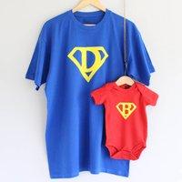 Dad And Baby Superhero T Shirt Set