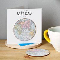'Best Dad In The World' Card With Coaster