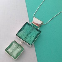 Murano Glass Double Square Silver Pendant, Silver