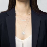 Personalised Silver Bar Layering Necklace Set, Silver