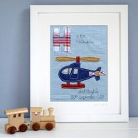 Personalised Boy's Alphabet Picture, Blue/Cream/White
