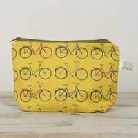 Small Handmade Bike Make Up Bag Pouch, White/Mint/Yellow