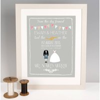 Personalised Scottish Wedding Print, Platinum/Grey/Dusky Pink