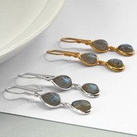 Sterling Silver Double Labradorite Teardrop Earrings, Silver