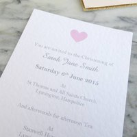 Personalised Heart Christening Invitations, Blue/Pink