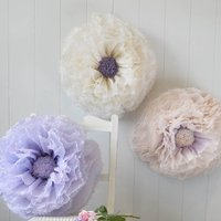 Three Ivory, Lilac And Champagne Paper Flowers