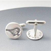 Silver Bird Cufflinks With A Secret Message, Silver