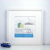Personalised View Campervan Painting, Baby Blue/Blue/Dark Blue