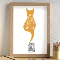 'A Cat Makes A House A Home' Unframed Print, Black/Brown/Ginger