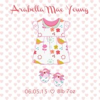 New Baby Girl Dress Greeting Card