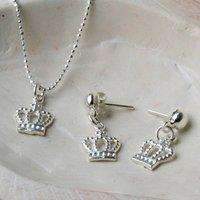 Sterling Silver Crown Necklace Or Crown Stud Earrings, Silver