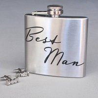 'Best Man' Boxed Hip Flask, steel