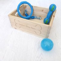 Wooden Personalised Dog Toy Storage Box