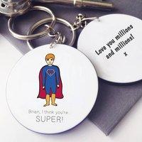Personalised Superhero Message Keyring, Red/Brown/Black