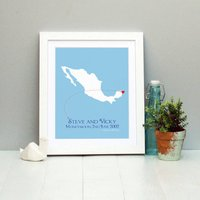 Honeymoon In Cancun Personalised Print, Coral/Plum/Sky Blue