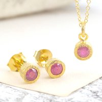 Gold Genuine Ruby Birthstone Jewellery Set, Gold
