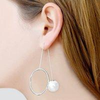 Statement Pearl Silver Drop Earrings, Silver