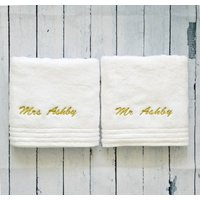 Personalised Hand Towel, Gold/Silver/Baby Blue
