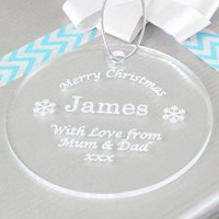 Personalised Bauble Acrylic Decoration Or Gift Tag