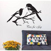 Magpies 'Two For Joy' Vinyl Wall Sticker, Yellow Orange/Yellow/Orange