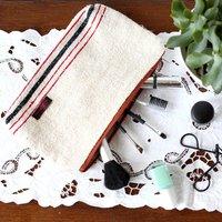 Antique Linen Make Up Bag