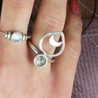 Bohemian White Moonstone And Moon Ring