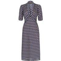 1940s Style Midi Dress In Navy Fan Print Crepe