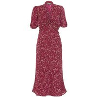 1940s Style Midi Dress In Ruby Heart Print